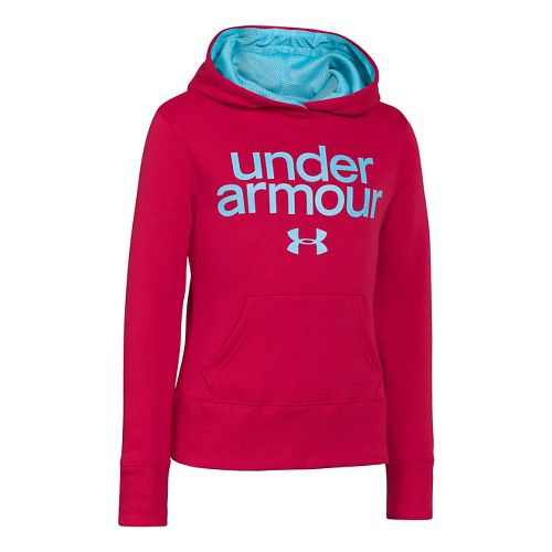 Kids Under Armour Girls Impulse Holiday Cotton Hoody Warm-Up Hooded Jackets - Passion M