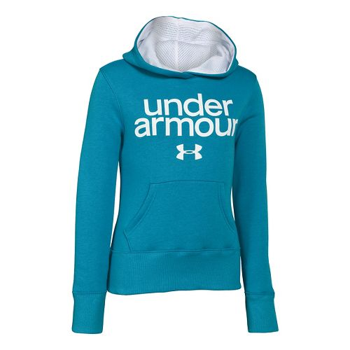 Kids Under Armour Girls Impulse Holiday Cotton Hoody Warm-Up Hooded Jackets - Teal Ice M ...