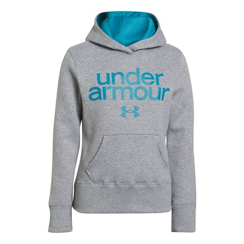 Kids Under Armour Girls Impulse Holiday Cotton Hoody Warm-Up Hooded Jackets - True Grey Heather ...