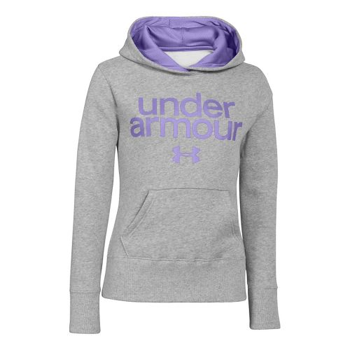 Kids Under Armour Girls Impulse Holiday Cotton Hoody Warm-Up Hooded Jackets - True Grey ...