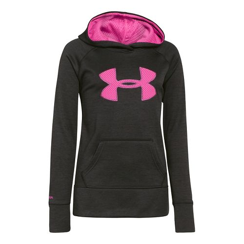 Kids Under Armour Girls Printed Big Logo Armour Fleece Hoody Warm-Up Hooded Jackets - Black ...