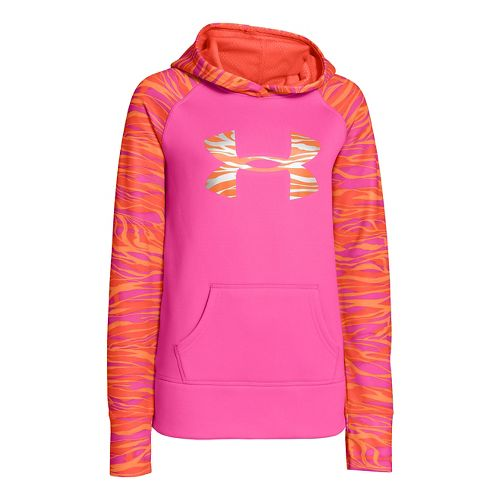 Kids Under Armour Girls Printed Big Logo Armour Fleece Hoody Warm-Up Hooded Jackets - Chaos ...