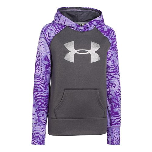 Kids Under Armour Girls Printed Big Logo Armour Fleece Hoody Warm-Up Hooded Jackets - Carbon ...