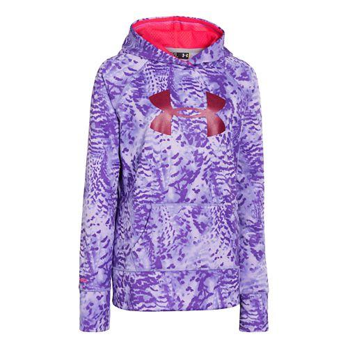Kids Under Armour Girls Printed Big Logo Armour Fleece Hoody Warm-Up Hooded Jackets - Flax ...