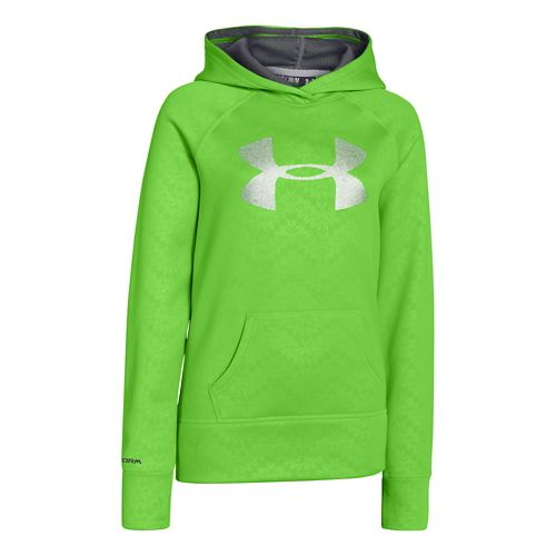 Kids Under Armour Girls Printed Big Logo Armour Fleece Hoody Warm-Up Hooded Jackets - Gecko ...
