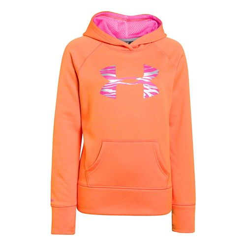 Kids Under Armour Girls Printed Big Logo Armour Fleece Hoody Warm-Up Hooded Jackets - Sunset ...