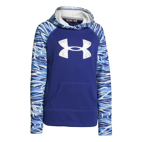 Kids Under Armour Girls Printed Big Logo Armour Fleece Hoody Warm-Up Hooded Jackets - Siberian ...