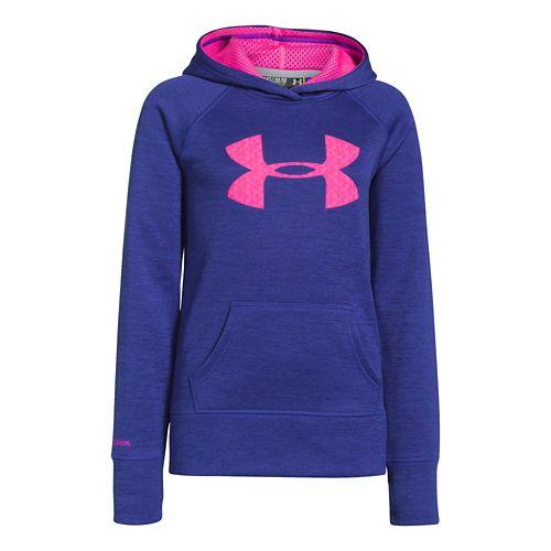 Kids Under Armour Girls Printed Big Logo Armour Fleece Hoody Warm-Up Hooded Jackets - Siberian ...