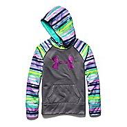 Kids Under Armour Girls Printed Big Logo Armour Fleece Hoody Warm-Up Hooded Jackets