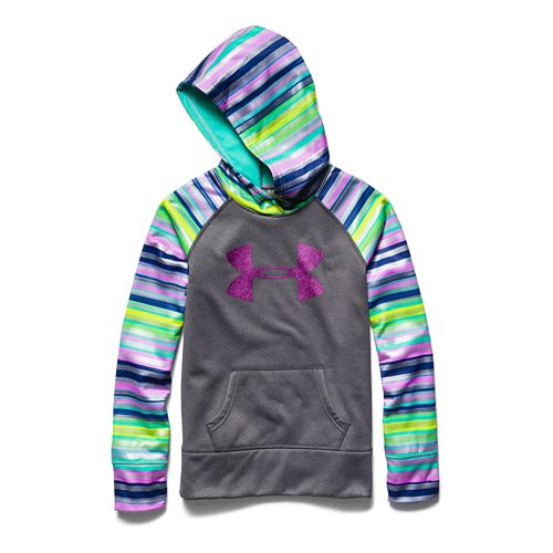 Kids Under Armour Girls Printed Big Logo Armour Fleece Hoody Warm-Up Hooded Jackets - ...