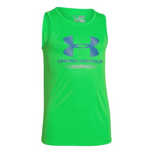 Kids Under Armour Boys No Stoppin It UPF-50 Tanks Technical Tops - Green Energy M ...