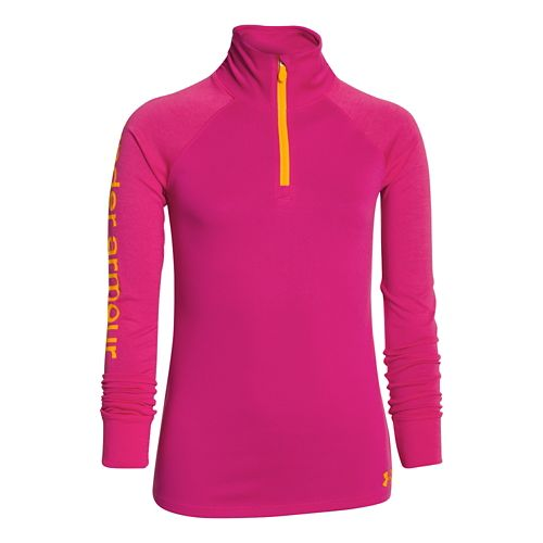 Kids Under Armour Girls Tech 1/4 Zip Long Sleeve 1/2 Zip Technical Tops - Tropic ...