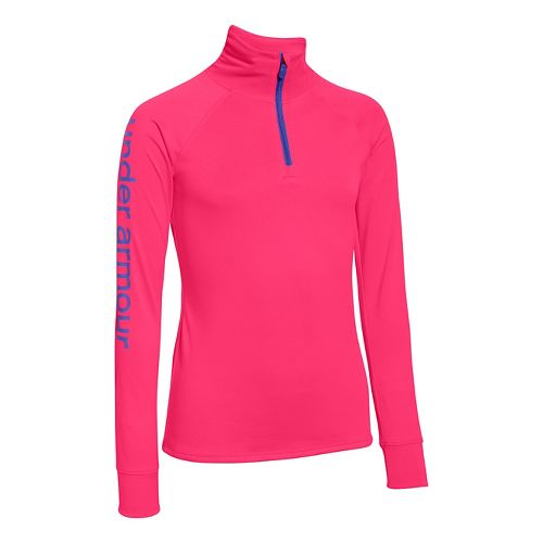 Under Armour Girls Tech 1/4 Zip Long Sleeve Technical Tops - Harmony Red YXL