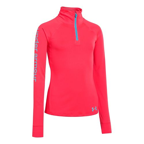 Kids Under Armour Girls Tech 1/4 Zip Long Sleeve 1/2 Zip Technical Tops - Neo ...