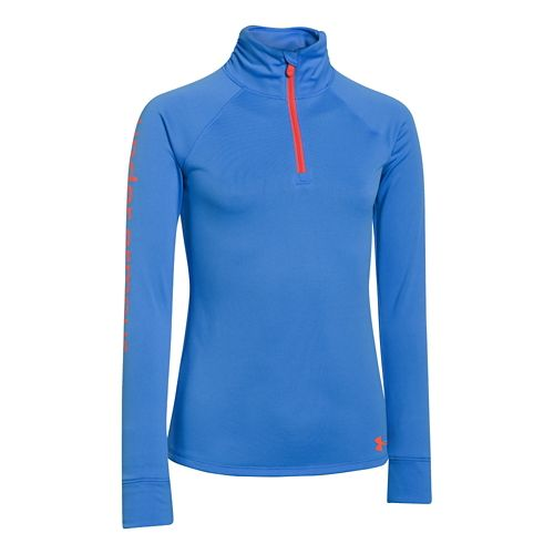 Kids Under Armour Girls Tech 1/4 Zip Long Sleeve 1/2 Zip Technical Tops - Water ...