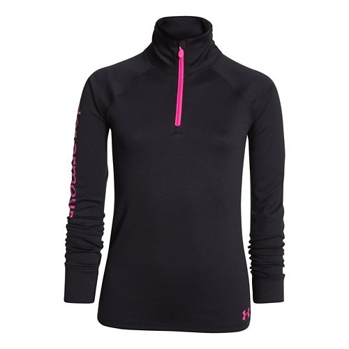 Kids Under Armour Girls Tech 1/4 Zip Long Sleeve 1/2 Zip Technical Tops - Black/Chaos ...