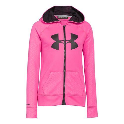 Kids Under Armour Girls Storm Big Logo Novelty Full Zip Running Jackets - Chaos S ...