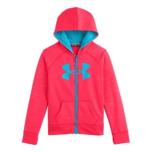 Kids Under Armour Girls Storm Big Logo Novelty Full Zip Running Jackets - Fire S ...