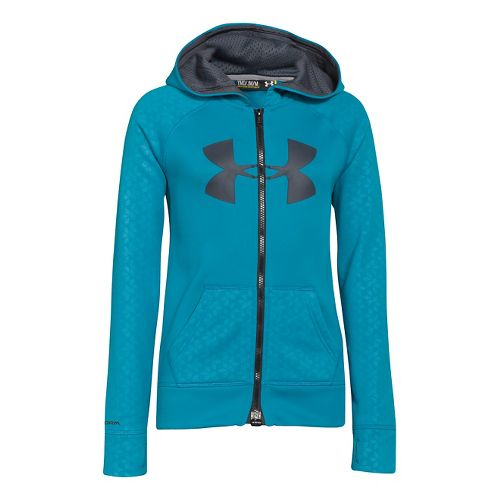 Kids Under Armour Girls Storm Big Logo Novelty Full Zip Running Jackets - Teal Ice ...