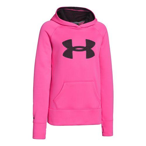Kids Under Armour Girls Storm Big Logo Armour Fleece Hoody Warm-Up Hooded Jackets - Chaos ...