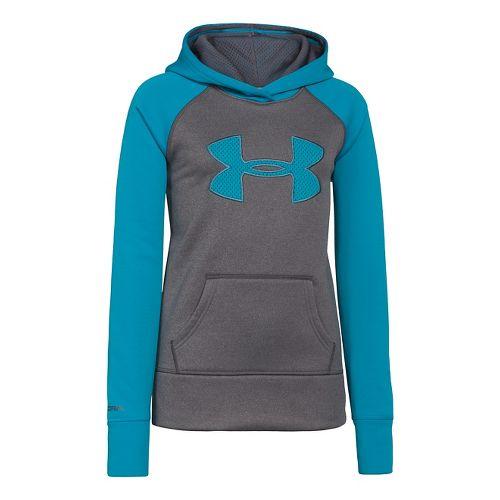 Kids Under Armour Girls Storm Big Logo Armour Fleece Hoody Warm-Up Hooded Jackets - Carbon ...