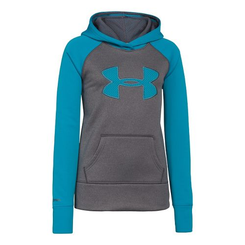 Kids Under Armour Girls Storm Big Logo Armour Fleece Hoody Warm-Up Hooded Jackets - Carbon ...