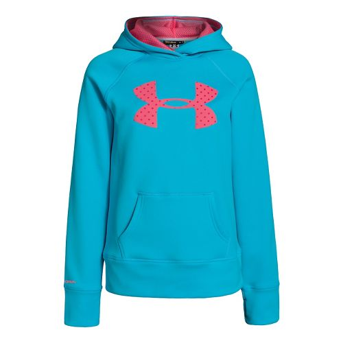 Kids Under Armour Girls Storm Big Logo Armour Fleece Hoody Warm-Up Hooded Jackets - Cortez ...