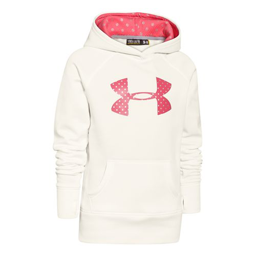 Kids Under Armour Girls Storm Big Logo Armour Fleece Hoody Warm-Up Hooded Jackets - Ivory ...