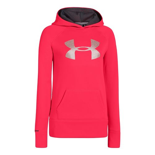 Kids Under Armour Girls Storm Big Logo Armour Fleece Hoody Warm-Up Hooded Jackets - Neo ...