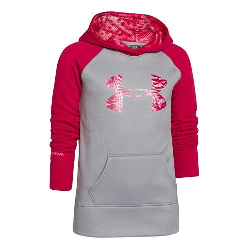 Kids Under Armour Girls Storm Big Logo Armour Fleece Hoody Warm-Up Hooded Jackets - True ...