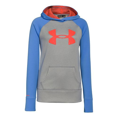 Kids Under Armour Girls Storm Big Logo Armour Fleece Warm-Up Hooded Jackets - True Grey ...