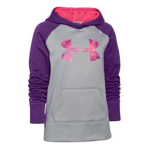 Kids Under Armour Girls Storm Big Logo Armour Fleece Warm-Up Hooded Jackets - Gray/Crush YL ...