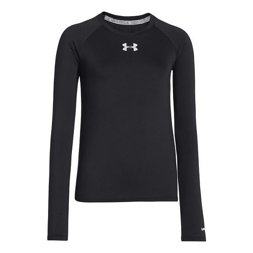 Kids Under Armour Girls Sonic Solid Long Sleeve No Zip Technical Tops - Black L ...