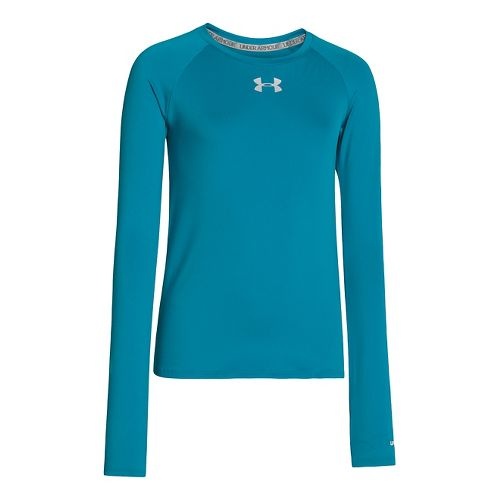 Kids Under Armour Girls Sonic Solid Long Sleeve No Zip Technical Tops - Teal Ice ...
