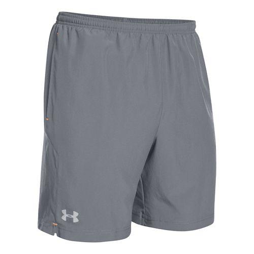Mens Under Armour Escape 7 Lined Shorts - Steel/Blaze Orange L