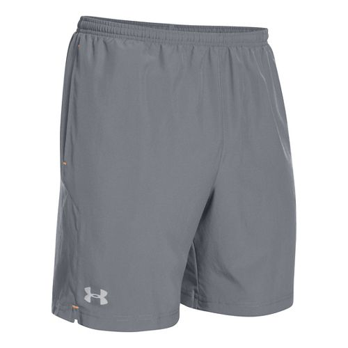 Mens Under Armour Escape 7 Lined Shorts - Steel/Blaze Orange XXL