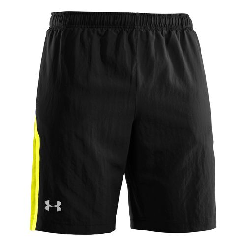 Mens Under Armour Escape 9 Woven Lined Shorts - Black/High Vis Yellow XXL