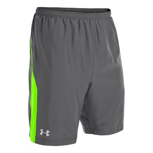 Mens Under Armour Escape 9 Woven Lined Shorts - Graphite/Hyper Green M