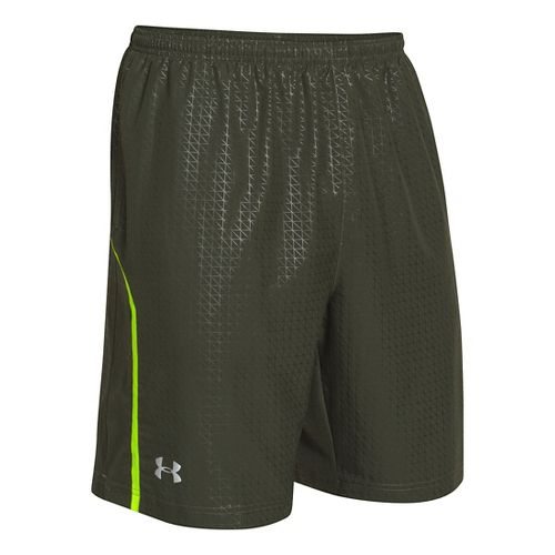 Mens Under Armour Escape 9 Woven Lined Shorts - Rifle Green/Hi-Viz Yellow M
