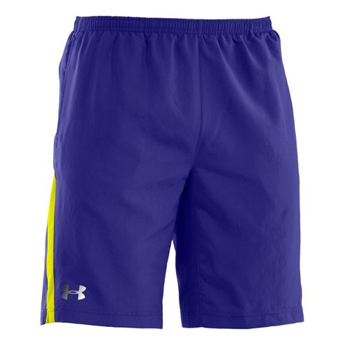 Mens Under Armour Run Like a Baller 10'' Lined Shorts - Caspian/High Vis Yellow L ...