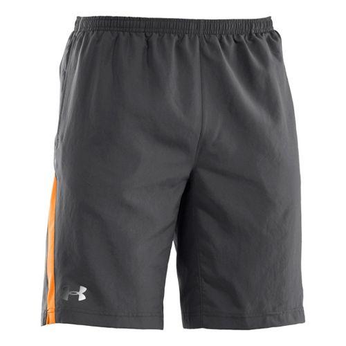 Mens Under Armour Run Like a Baller 10'' Lined Shorts - Graphite/Blaze Orange M