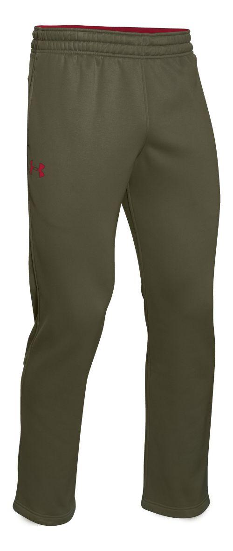 Mens Under Armour Fleece Storm Pants - Greenhead/Red L