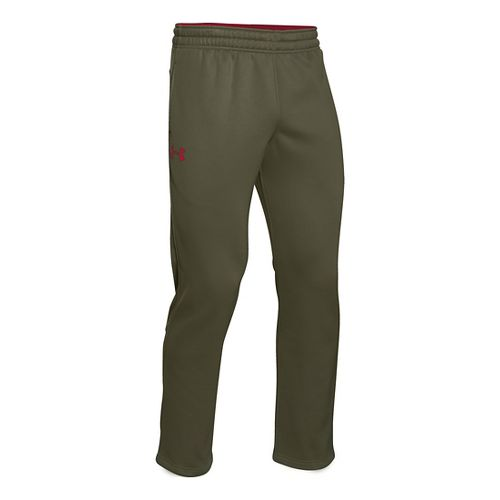 Mens Under Armour Fleece Storm Pants - Greenhead/Red S