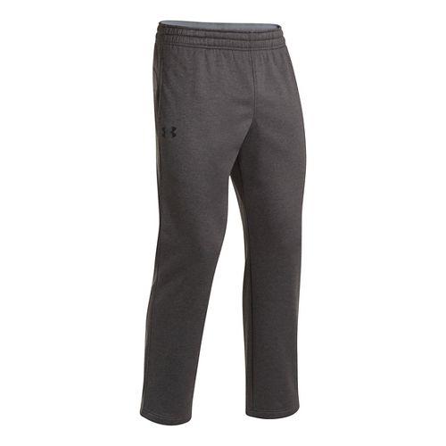 Mens Under Armour Fleece Storm Pants - Carbon Heather/White L