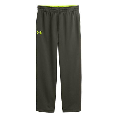 Mens Under Armour Fleece Storm Cold weather Pants - Rifle Green/Hi-Viz Yellow L