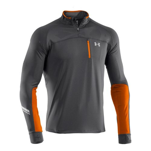 Mens Under Armour Imminent Run 1/4 Zip Long Sleeve Technical Tops - Graphite/Graphite L
