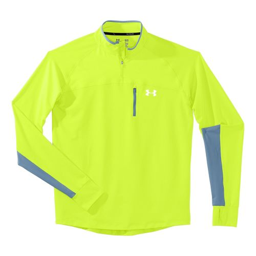 Mens Under Armour Imminent Run 1/4 Zip Long Sleeve Technical Tops - High Vis Yellow/High ...