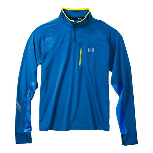 Mens Under Armour Imminent Run 1/4 Zip Long Sleeve Technical Tops - Moon Shadow/High Vis ...