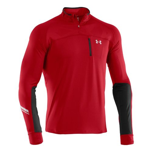 Mens Under Armour Imminent Run 1/4 Zip Long Sleeve Technical Tops - Red/Black M