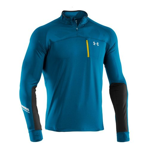 Mens Under Armour Imminent Run 1/4 Zip Long Sleeve Technical Tops - Snorkel/Snorkel S
